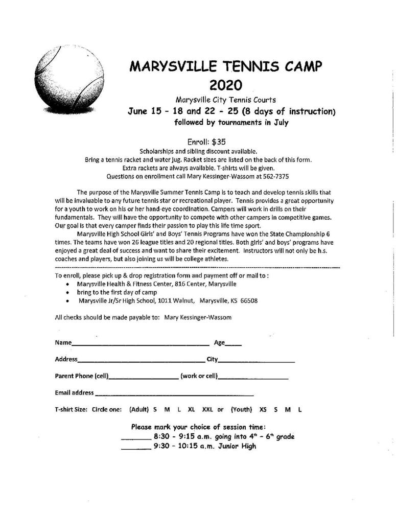 Marysville Tennis Camp 2020