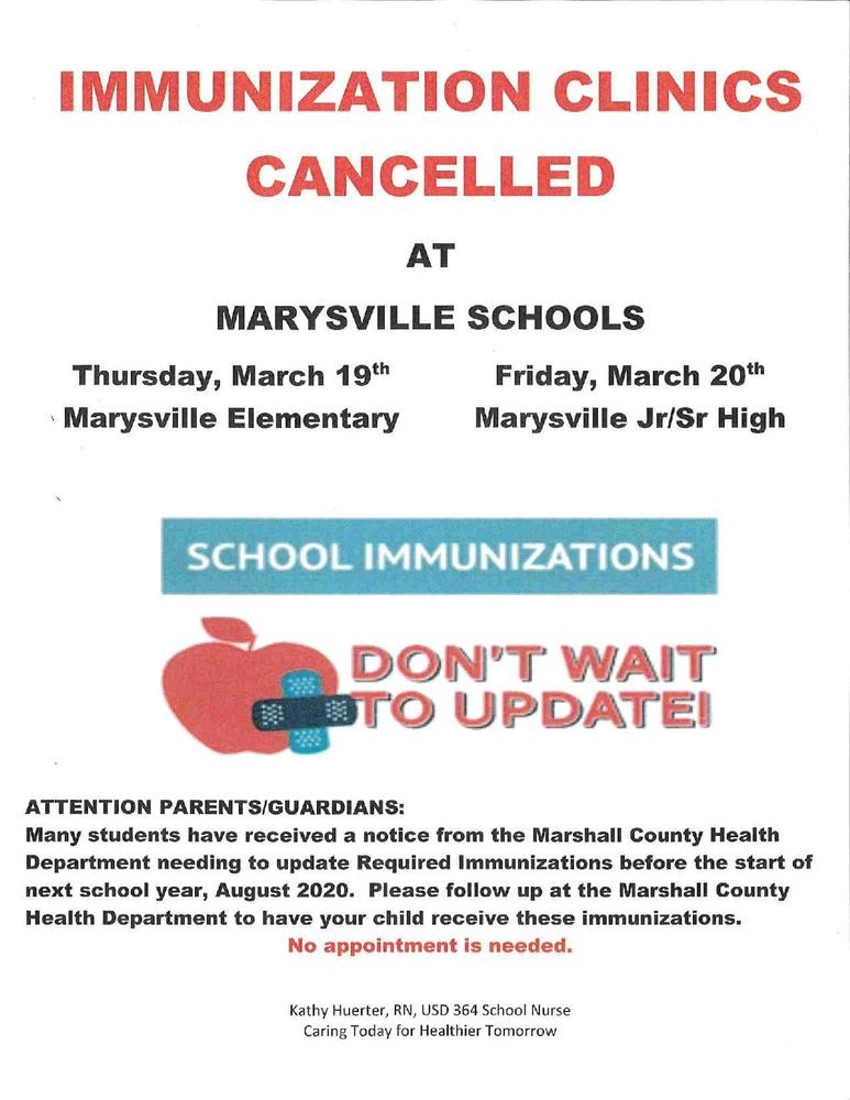 Immunizations Clinics Canceled