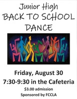 TIME CHANGE **Junior High Back to School Dance