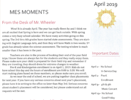 MES Moments Newsletter, April 2019
