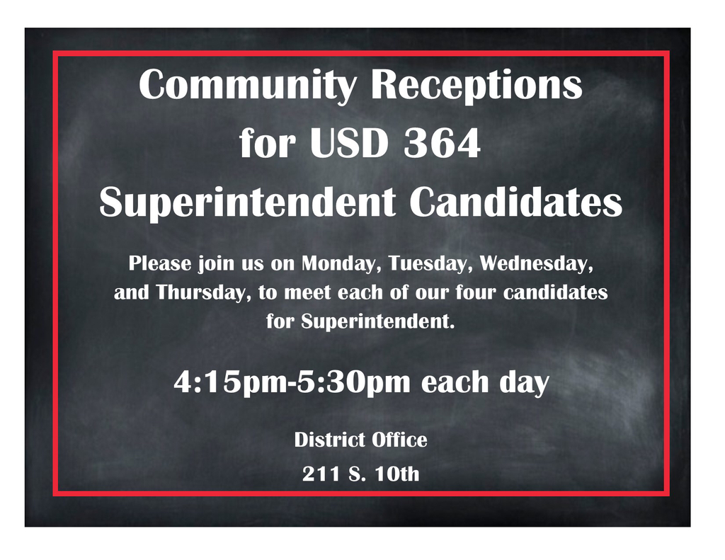 Community and staff reception to meet the superintendent candidates.